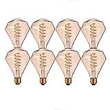 WUIO Bombilla De Luz LED, Bombilla De Luz Edison Vintage 3W (Equivalente A 30W) 2200K Bombilla De Tornillo Edison De Luz Cálida Bombilla De Luz Antigua Decorativa Regulable 8 Paquetes 110V-220V