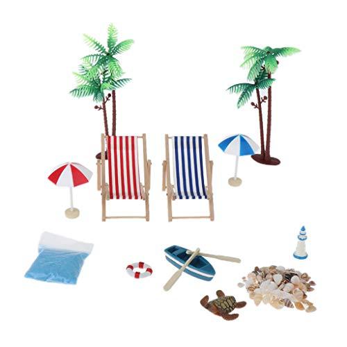 ombrellone da spiaggia kit perfeclan 12 Pezzi Miniature Sedia a Sdraio Ombrellone da Spiaggia Kit di Conchiglie per Barche per Case delle Bambole Scene di Decorazione Acquario Terrar