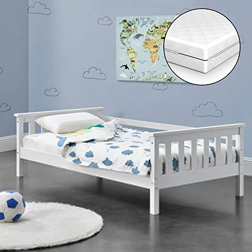 [en.casa] Kinderbett Nuuk mit Komfort-Matratze 80x160 cm Jugendbett mit Stauraum und Lattenrost Kojenbett Kiefernholz Sperrholz Weiß