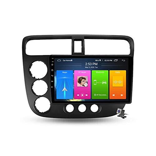 Car Stereo Sat Android 10.0 Radio para Honda Civic 7 2000-2006, Navegación GPS Unidad Principal de 9 Pulgadas Reproductor Multimedia MP5 Receptor de Video con 4G WiFi DSP SWC Carplay