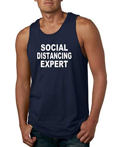 Social Distancing Expert Funny Quarantine Virus 2020 | Mens Graphic Tank Top, Navy, 2XL