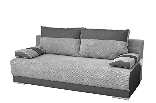 mb-moebel Couch mit Schlaffunktion und Bettkasten Sofa Schlafsofa Wohnzimmercouch Bettsofa Ausziehbar Nisa (Grau)