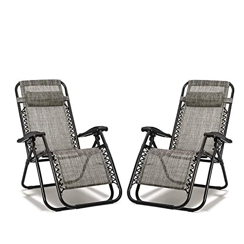 MYRCLMY Garden Lounger Reclining Zero Gravity Sun Lounger Set of 2, Garden Patio Folding Outdoor Chair,Folding Camping Chairs with Cup Holders, 100Kg Capacity Each
