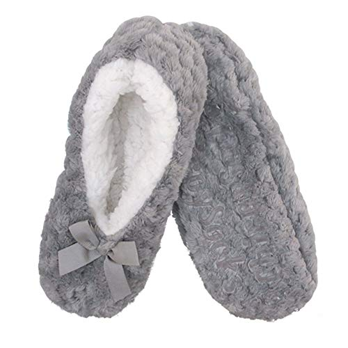 Adult Super Soft Warm Cozy Fuzzy Soft Touch Slippers Non-Slip Lined Socks, Grey, Medium 1 Pair