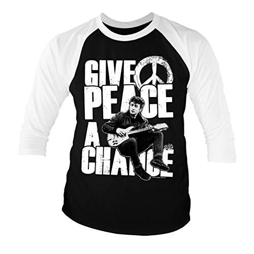 Licenciado Oficialmente John Lennon - Give Peace A Chance Baseball Camisa de Manga 3/4 para Hombre (Negro-Blanco), X-Large