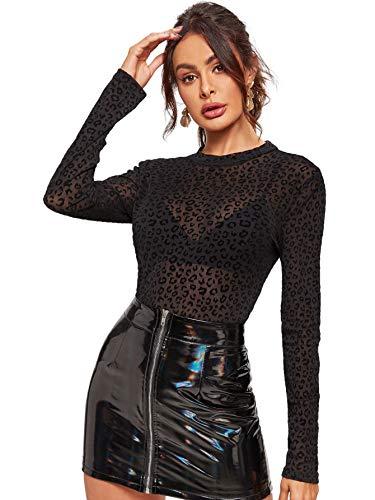 SweatyRocks Women's Long Sleeeve Mesh Shirt Sheer See Through Top Leopard Print Blouse Black #7 L
