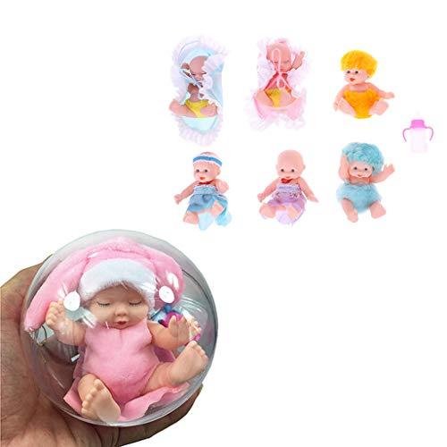 LDA Holen Sie Sich frische Neue Babypuppe Überraschungspuppe Reborn Puppe Baby echte Mini Bebe Reborn Mädchen Baby Spielzeug transparente Puppe Ball Badepuppe zufällige Lieferung