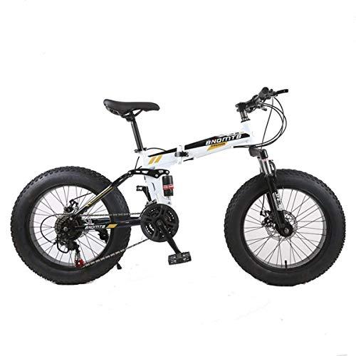 """Jieer Bicicleta Montaña Adulto, 7/21/24/27/30 Marco de Acero de Velocidad, 4.0""""Neumáticos Gordos Ruedas Radiales Bicicleta Plegable de Suspensión, A 27 Velocidad"""