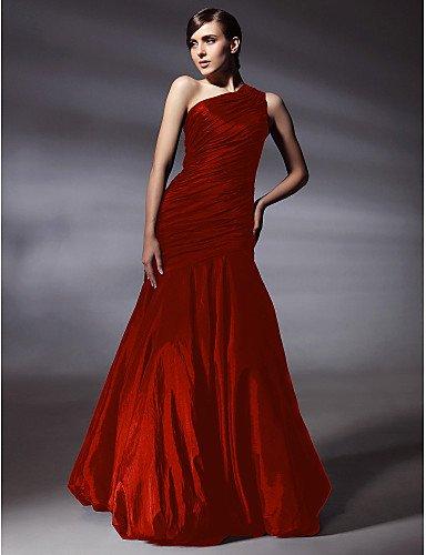 HY&OB Mermaid/Trompete Eine Schulter Bodenlangen TAFT Prom Formeller Abend Kleid Mit Seitlichen Drapieren, Rot, US 16 / UK 20 / EU 46