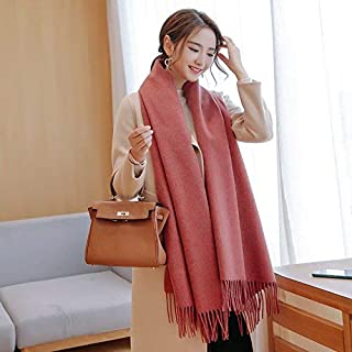 Winter Long Scarf Thick Warm Scarf Female Winter Wild England Solid Color Long Paragraph bib Large Shawl Dual-use Autumn and Winter (Color : Hot Pink) Winter Soft Scarf (Color : Hot Pink)