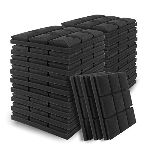 24 Pack Acoustic Foam Sound Proof Padding, 12 X 12 X 2 Inches Thick Soundproofing Studio Foam, High Density Acoustic Foam Panels for Acoustic Treatment and Wall Decoration