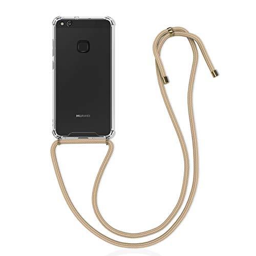 kwmobile Carcasa con Cuerda Compatible con Huawei P10 Lite - Funda Transparente de TPU con Cuerda para Colgar en el Cuello