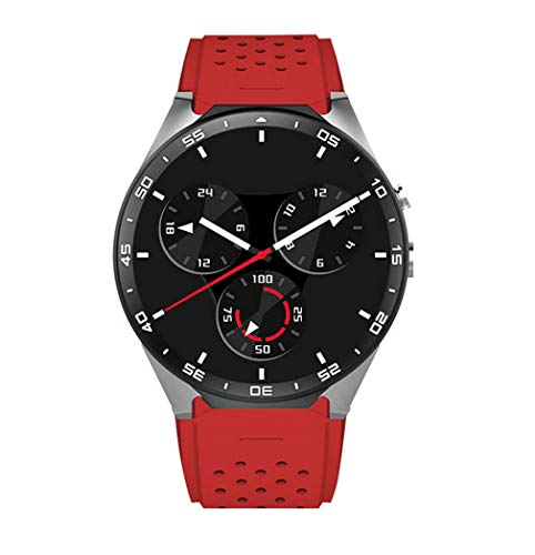 Smart Watch, 3G WiFi Android 5.1 all-in-One Smart Watch con Nano SIM Card Slot GPS Monitor della frequenza cardiaca della Fotocamera Google Map (Red)