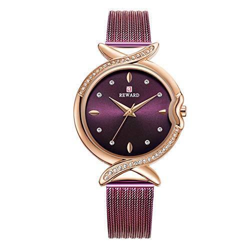 Damenuhr, Qualität Strass wasserdichte Weibliche Uhr Quarzwerk Armbanduhr mit Verstellbarem Stahlgürtel(Rose Lila)