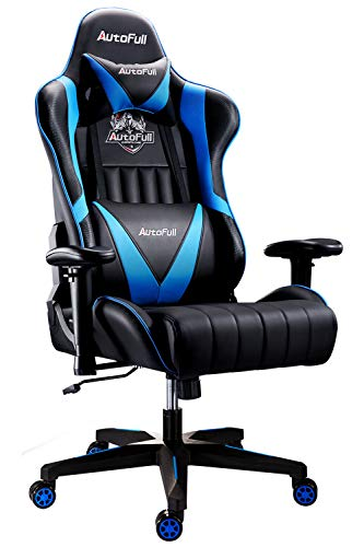 AutoFull Gaming Chair Racing Style Ergonomic High Back Computer Chair with Height Adjustment, Headrest and Lumbar Support E-Sports Swivel Chair,Blue