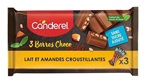 CANDEREL – Barres Choco - Chocolat au lait et amandes croustillantes - sans sucre ajouté | 3 X 27g