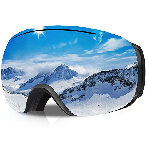 GANZTON Skibrille Ski Snowboard Brille OTG Brillenträger Schneebrille Doppel-Objektiv UV-Schutz Anti-Fog Snow Snowboardbrille mit Verstellbares Band für Damen Herren Jungen Mädchen(Silber)