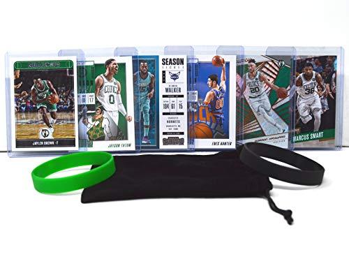 Boston Celtics Basketball Cards: Jayson Tatum, Kemba Walker, Tristan Thompson, Jaylen Brown, Marcus Smart, Gordon Hayward ASSORTED Basketball Trading Card and Wristbands Bundle