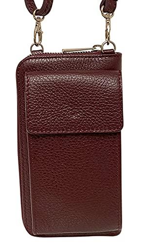ALEXANDER MILANO Bolso de teléfono móvil para Mujer Monedero de Cartera Cruzada Mini Bolso de teléfono Celular Cruzado de Cuero Vera Pelle (Vino)
