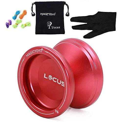 MAGICYOYO Yoyos for Beginner Yo-yo Kids Pro Responsive Yo-yos V6 LOCUS Space Matt Metal Yo Yo Set Red