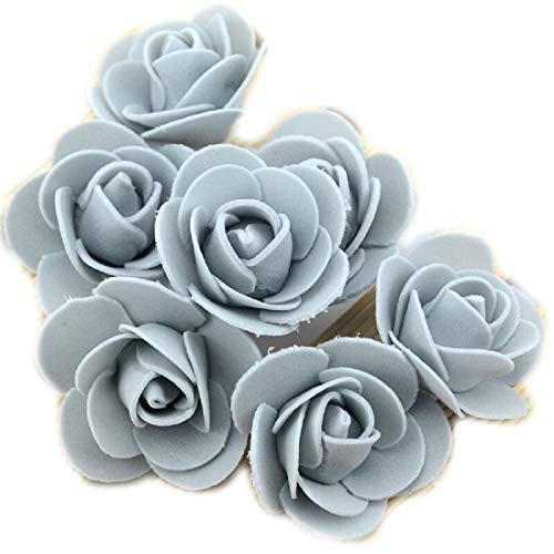 Yalulu 300 Stück Foamrosen Schaumrosen Schaumköpfe Künstliche Blume Brautstrauß Rosenköpfe DIY Handwerk Hochzeits Valentinstag Dekor (Grau)