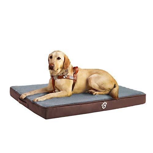 FRISTONE Orthopädisches Hundebett für Kleine Mittlere Große Hunde, Waschbar Hundematratze, Eierkistenform Schaum Hundekissen mit Abnehmbarem Bezug,XXL,Braun