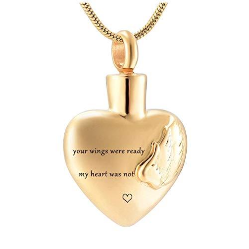 Wxcvz Colgante para Conmemorar Tus Alas Estaban Listas Mi Corazón No Era Alas De Acero Inoxidable En El Corazón Collar De Urna Conmemorativa De Cremación para Cenizas Humanas