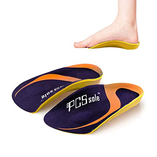 PCSsole 3/4 Length Comfort Orthotic Shoe Inserts for Flat Feet ,Plantar Fasciitis, Heel Spur ,Heel Pain ,Mild Arch Support Memory Foam Insoles for Men and Women