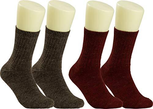 RS. Harmony | Socken & Strümpfe für Damen | Weich & Warm Edle Alpakawolle | 2 Paar | fuchsia und braun | 35-38