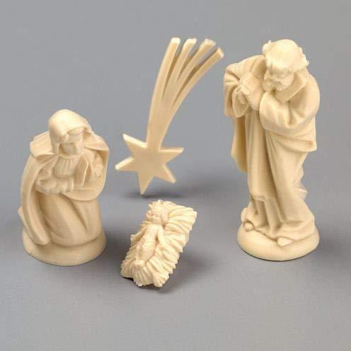 Efco 1655241 - Presepe in miniatura, 40 mm, 4 pezzi, colore: avorio, 6 x 4 x 2 cm