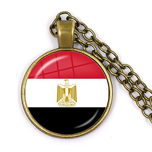Minyose Palästina, Thailand, Zypern, Ägypten, Kolumbien, Tunesien, Österreich, Island, Kambodscha Nationalflagge Glas Cabochon Anhänger Halskette Schmuck