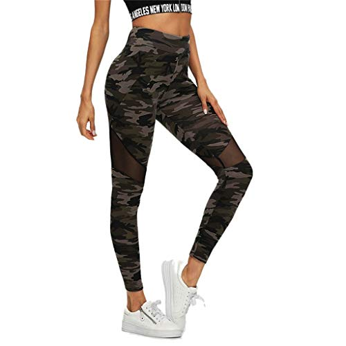 Fenverk Damen Jogginghose Sport Yoga Hose Lang - Training Tights Schwarz Gym Leggings Printed Trainingshose FüR Laufen Workout Hohe Taille Pants Laufhose(Grün,M)