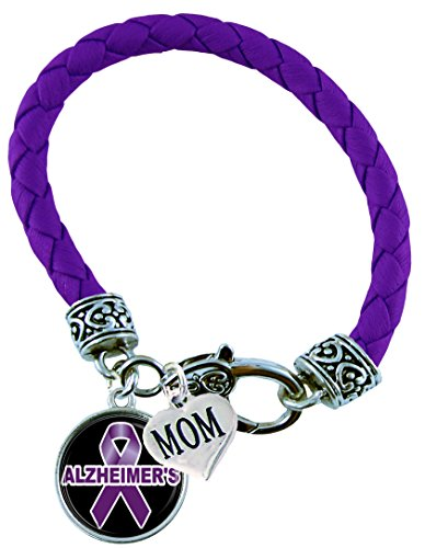 Holly Road Bracelet Custom Alzheimer's Awareness Purple Leather MOM OR DAD Charm ONLY Jewelry