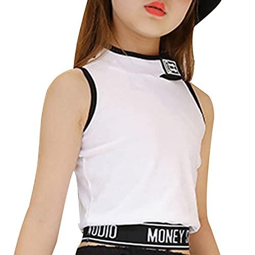 YOOJIA Kids Big Girls Ballet Dance Yoga Sleeveless Vest Stand Collar Letters Print Tank Tops Shirts Training Bra White 11-12 Years