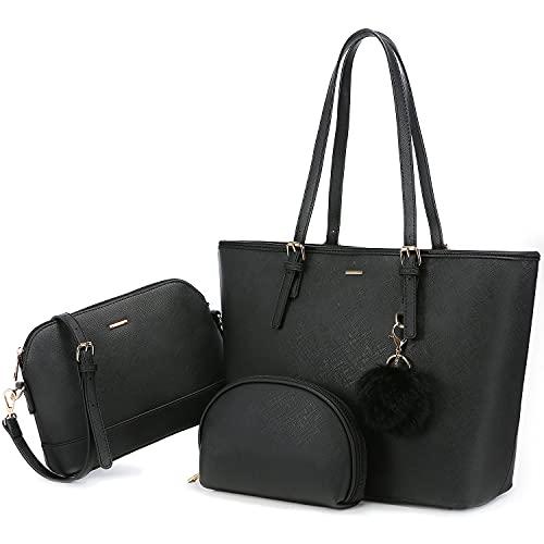 LOVEVOOK Handtasche Damen Shopper Schultertasche Schwarz Umhängetasche Damen groß Damen Tasche Tote für Büro Schule Einkauf Reise Leder Handtasche 3-teiliges Set Schwarz