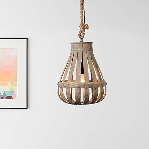 Lightbox Pendelleuchte, Hängeleuchte aus echtem Bambus, E 27 Fassung für max. 60W Leuchtmittel, Moderne Hängelampe aus Metall/Bambus, Hellbraun