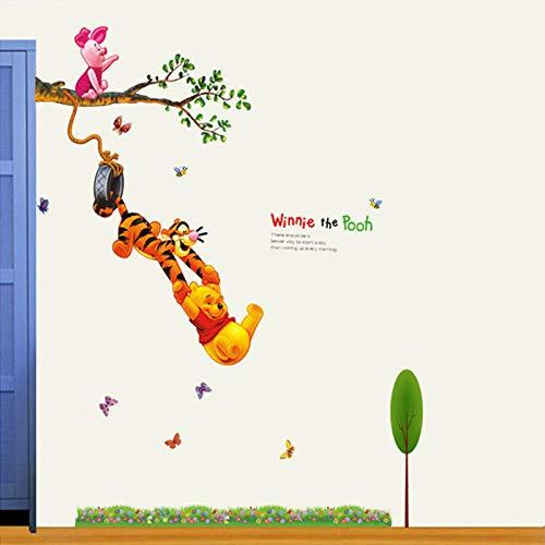 140 * 110 cm Bande Dessinée Winnie Tigger Animaux Amis Stickers Muraux pour Enfants Room Decor Maternelle Classe Décoration Vinyle Stickers