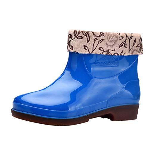 Plot Damen Regenstiefel Kurzschaft Stiefel Stiefeletten Winter Warm Gefüttert Gummistiefel Rain Boot Chelsea Boots Schuhe Wasserdicht Blockabsatz Regenschuhe
