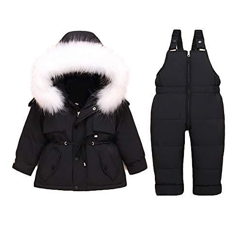 Minizone Kinder Schneeanzug Daunenjacke + Hose 2PC Set Mädchen Jungen Baby Jacke Ski Winter Overall Kapuzen Langarm Warme Kleidung Geschenk 3-4 Jahre Schwarz