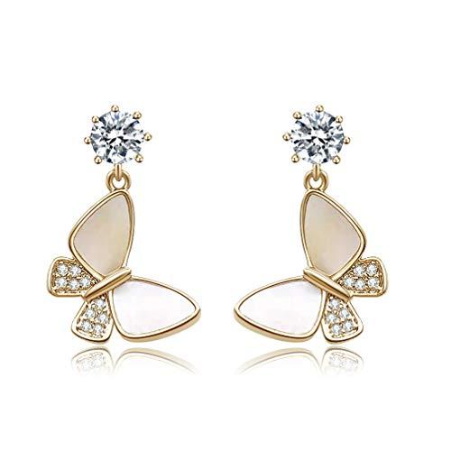 Pendientes de mariposa para mujer en plata de ley 925 y chapado en oro, con circonita cúbica de...
