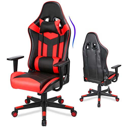 Acethrone Gaming Chair, Video Game Chair with Cushioned Backrest Large Seat,PC Computer Gaming Chair High Back, Fabric Gaming Desk Chair with Wheels Adjustable Arms, Recline Racing Office Chair… (Red)