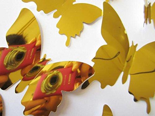 Wandaufkleber Aufkleber Schmetterlinge 3D-Spiegel Wandkunst Wohnkultur Gold, Wohnkultur für Ostertag (Gold)