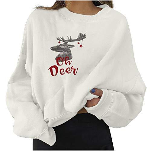 Moda Mujer Tops Camiseta Manga Larga Impresión Navidad Reno Cornamenta Letra Impresión Camisa Casual Blusas Jerséis Cuello Redondo Suelto Linda y Moda Regalo de año Nuevo