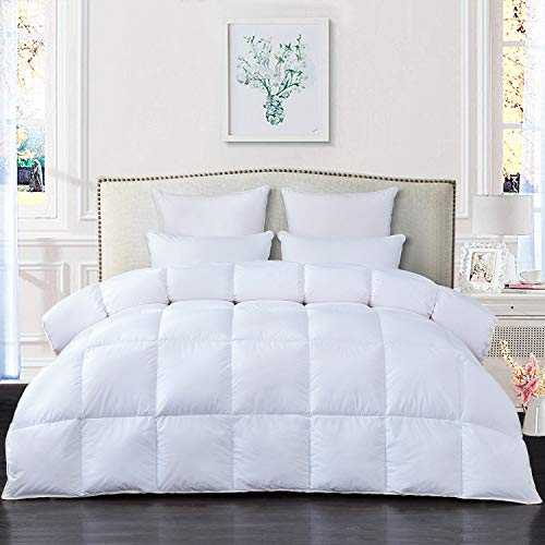 RE Bedding Luxurious All Season Goose Down Comforter Duvet Insert King Size 100% Cotton Shell 750+ Fill Power 1000 Thread Count Hypoallergenic Down Proof with 8 Tabs (White, King)