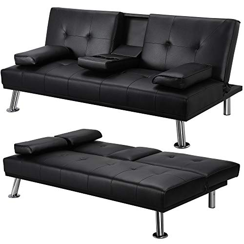 Yaheetech Living Room Sofa Faux Leather Couch Modern Sleeper Sofa Reversible Loveseat Folding Down Couch, 3 Angles Adjustable, Cup-Holders, Metal Legs, 772lb Capacity, Black
