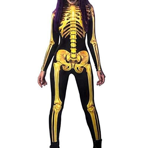 Oinna Disfraz de esqueleto humano, medias para cosplay, Halloween, fiesta de baile, terror, esqueleto humano, mono de S