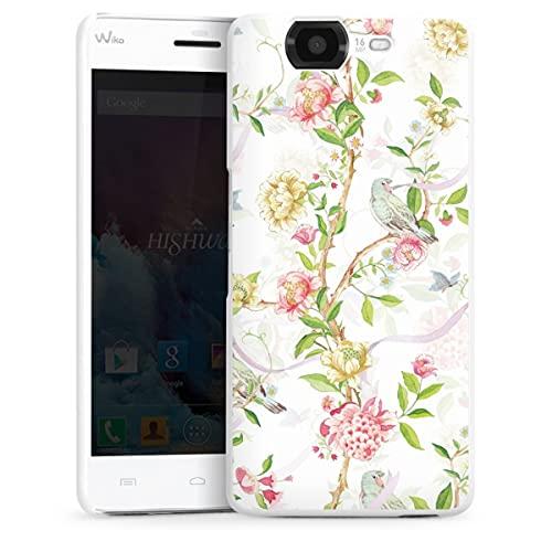 DeinDesign Hard Hülle kompatibel mit Wiko Highway Schutzhülle weiß Smartphone Backcover Papagei Blumenkranz Blüte