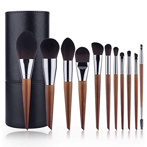 PLKZ Professional 11 Make-up penseelset met opbergtas met luxe lederen effect inclusief oogschaduw Foundation blush concealer lippenborstel voor professionele make-up artiest