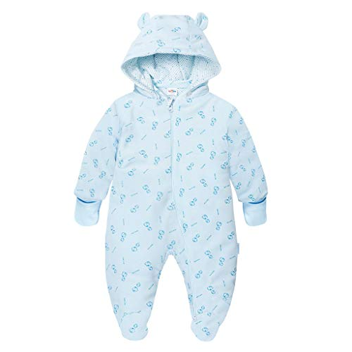 JiAmy Baby Kapuze Strampler Säugling Füßen Overall Herbst Winter Outfits Dick Outwear mit Abnehmbar Hut Blau 3-6 Monate