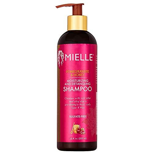 Mielle Organics Pomegranate & Honey Moisturizing and Detangling Shampoo, Cleanses Curly Type 4 Hair, 12 Ounces